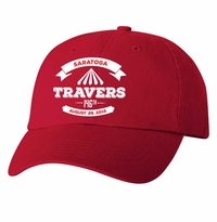 2015 Travers Stakes Event Logo Cap, unconstructed, bio washed, slide buckle Red