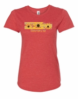 Ladies' Brush Stroke Scoop Neck T-Shirt Heather Red