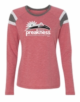 Ladies' Event Logo Baseball Style T-Shirt Heather Red/Slate White