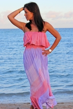 Angels by the Sea Purple Ruffle Bottom Long Dress