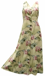 Bambo Orchid Yellow Button Front Tank Dress