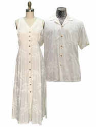 Bamboo Garden Wedding White Hawaiian Shirt and Dress