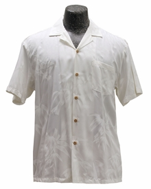Bamboo Garden White Hawaiian Shirt