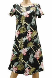 Bamboo Orchid Black A-Line Dress with Cap Sleeves
