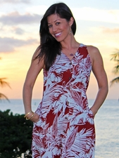 Button Front Long Tank Hawaiian Dresses