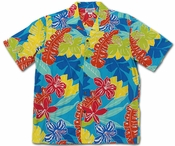 Cartoon Jungle Turquoise Hawaiian Shirt