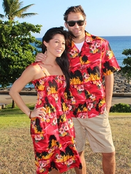 Diamond Head Sunset Matching Hawaiian Dresses and Shirts