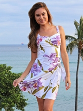 Double Orchid White Sarong Dress