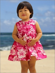 Girls Tank Hawaiian Dresses with Ruffle Neck