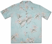 Hilo Orchid Soft Blue Hawaiian Shirt