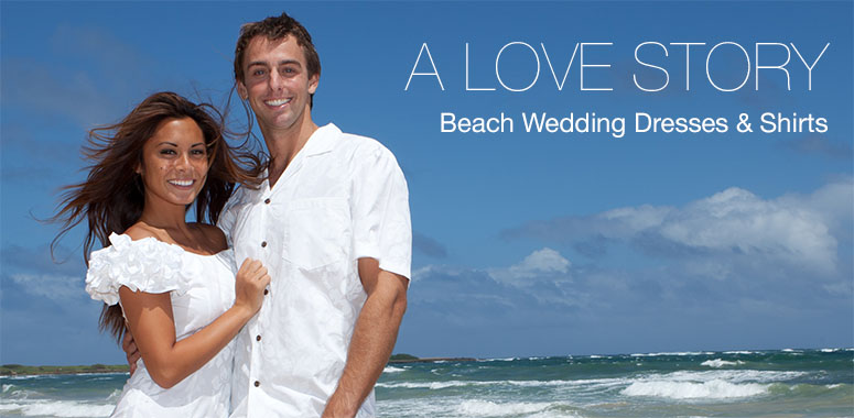 Hawaiian Wedding Dresses and Shirts plus Bridesmaids Dresses and Groomsmen Shirts