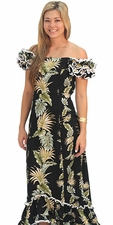 Island Enchantment Black Ruffle Shoulder Muumuu