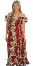 Island Enchantment Red Ruffle Shoulder Muumuu