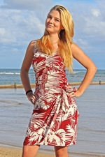 Island Palms Red Sarong Dress