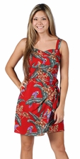 Jungle the Bird Red Sarong Dress