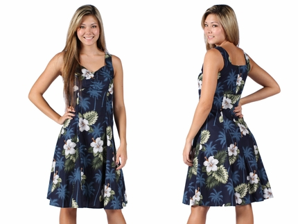 Kilauea Blue Flounce Tank Dress