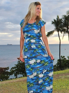 Full-Length Elastic Waist Hawaiian Dresses