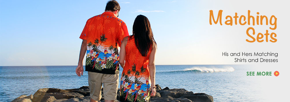 Matching Hawaiian Dresses and Hawaiian Shirts