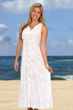 Paradise Beach Wedding Dress - Button Front Tank