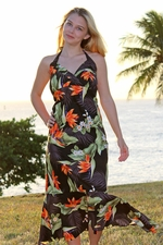 Paradise Valley Black Hawaiian Halter Dress