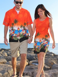 Parrot Island Couples Hawaiian Shirts and Dresses