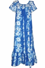 Royal Hibiscus Blue Short Sleeve Muumuu