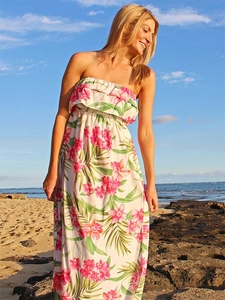 Strapless Full-Length Hawaiian Dresses with Elastic Waist