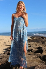 Tye Smoke Maxi Dress with Beaded Neckline