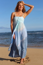 V Shaped Tie Dye Maxi Dress with Multi-Way Strap