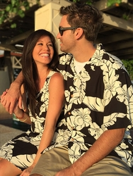 Wailea Hibiscus Couples Hawaiian Shirts and Dresses