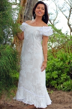 Wedding Flower Ruffle Shoulder Muumuu