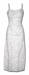 Wedding White Hibiscus Panel Long Spaghetti Dress