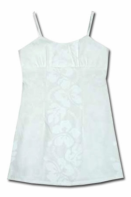 Wedding White Hibiscus Panel  Girls Spaghetti Dress