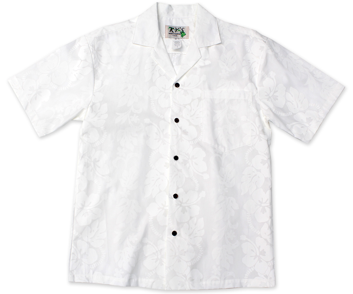 Wedding White Hibiscus Panel Hawaiian Shirt