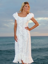 Wedding White Hibiscus Ruffle Shoulder Muumuu