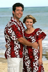 White Hibiscus Panel Hawaiian Shirts and Dresses