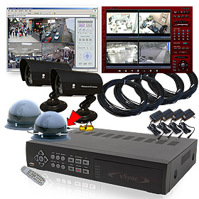 CCTV vSync (SSA-0412iPDI) 4 Channel MPEG4 Triplex Standalone DVR System - 120/120fps Real-Time Record, 250GB HDD Full Package