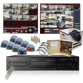 CCTV vSync (SSA-0824ePD) 8 Channel MPEG4 Triplex Standalone DVR - 270/120 Real-Time Record, 500GB HDD Surveillance System Kits