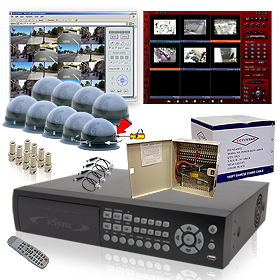 CCTV vSync (SSA-0912iPD) 9 Channel MPEG4 Triplex Standalone DVR - 270/120 Real-Time Record, 250GB HDD Surveillance System Kits