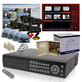 CCTV vSync (SSA-0912iPDI) 9 Channel MPEG4 Triplex Standalone DVR - 270/120 Real-Time Record, 250GB HDD Surveillance System Kits