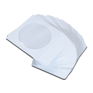 iMBA White CD/DVD/Blu-Ray Paper Sleeve Envelopes with Flap and Clear Window - 100Pack