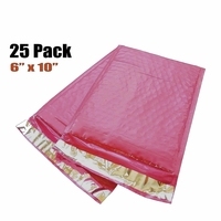 "iMBAPrice 25-Pack #0 (6"" x 10"") Premium Hot Pink Color Self Seal Poly Bubble Mailers Padded Shipping Envelopes"