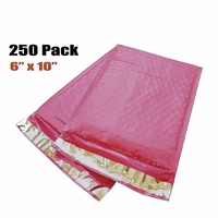 "iMBAPrice 250-Pack #0 (6"" x 10"") Premium Hot Pink Color Self Seal Poly Bubble Mailers Padded Shipping Envelopes"