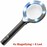 iMBAPrice® SuperBright 6 Led Light with 4x Magnifying Glass - Grey