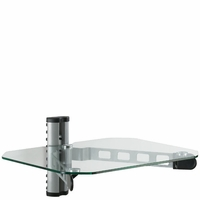 *Single Adjustable DVD VCR Stereo Cable Box Blu-Ray Media Wall Mount Shelf - Clear/Silver (WALLDVD2CE)