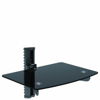 *Single Adjustable DVD VCR Stereo Cable Box Blu-Ray Media Wall Mount Shelf (WALLDVD2BE)