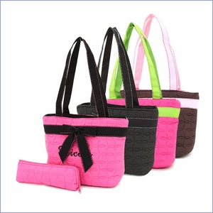 2 pc Quilted Lunch Cooler Bag