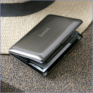 6 Compartment Gunmetal Pocket Business Cardcase