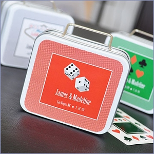 A Lucky Pair Personalized Vegas Suitcase Tins Wedding Favors