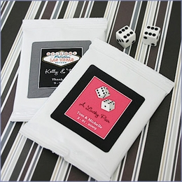 A Lucky Pair Vegas Themed Personalized Hot Cocoa Wedding Favors